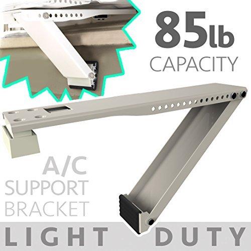 Universal Window Air Conditioner Bracket - 1pc Medium-Duty Window AC Support - Support Air Conditioner Up to 85 lbs. - For 12000 BTU AC to 20000 BTU AC Units (MD 1PC ACB) (1, MEDIUM DUTY- ONE ARM)