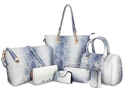 (Hoxis Pack of 7 Bags Women Multi-purpose Classic Design Patent Purse Leather Leatherette Shoulder Handbag (Light Color Snake Pattern))
