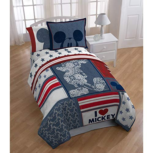LO 4 Piece Kids Red White Blue I Love Mickey Mouse Disney Themed Comforter Twin Set, Fun Patchwork American Flag Star Stripe Bedding, Playful Patch Work Striped Geometric Pattern, ()