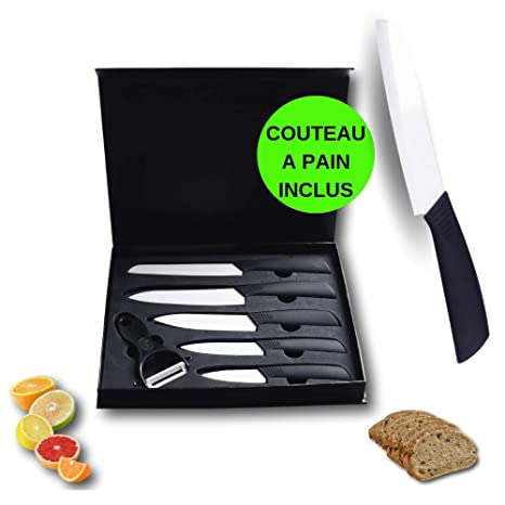 Cuchillos de Cocina de cerámica y Cuchillos para Pan, Juego de 5 Cuchillos de Cocina de Mesa de cerámica para Cortar Carne, bistec, Pescado, Verduras, ...