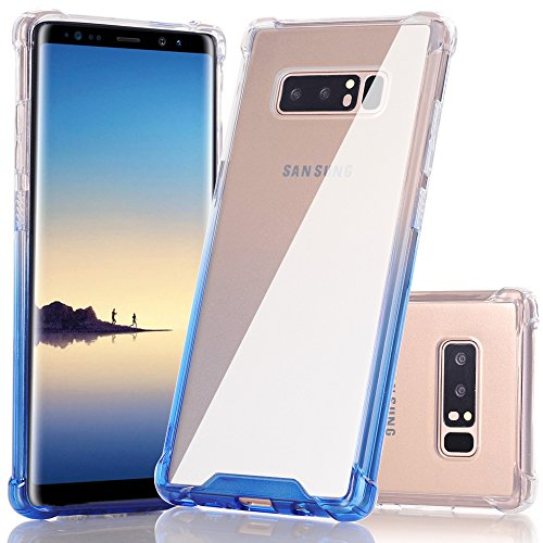 Galaxy Note 8 Case, BAISRKE Clear Blue Gradient Shock-Absorption TPU Soft Edge Bumper Anti-Scratch Rigid Slim Protective Cases Hard Plastic Back Cover for Samsung Galaxy Note 8 (2017)