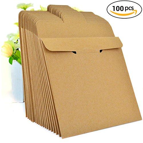 100 Pack Kraft Paper CD Sleeves, Ishua Retro DVD Envelopes 5'' x 5''(12.8 x 12.8 cm) Blank CD Paper Cardboard CD Paper Storage Holder Covers CD Packaging Bags Box Media Cases (Brown)
