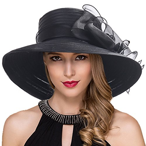 Women Kentucky Derby Church Dress Cloche Hat Fascinator Floral Tea Party Wedding Bucket Hat S052 (S062-Black)