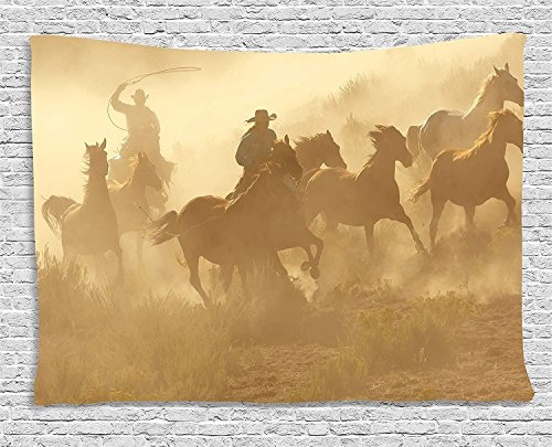 (THndjsh Western Tapestry, Galloping Running Horses in Desert Two Cowboys Roping Dusty Wild Rural Countryside, Wall Hanging for Bedroom Living Room Dorm, 80 W X 60 L Inches, Light Brown)