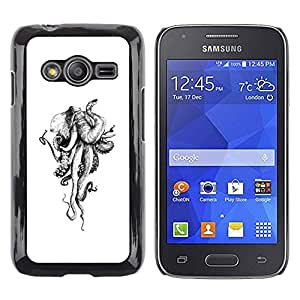 LECELL--Funda protectora / Cubierta / Piel For Samsung Galaxy Ace 4 G313 SM-G313F -- Octopus Monster White Ivory --