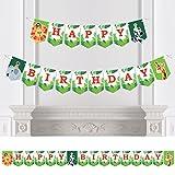 Big Dot of Happiness Jungle Party Animals - Safari Zoo Animal Birthday Party Bunting Banner - Birthday Party Decorations - Happy Birthday