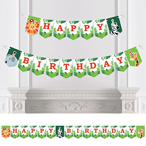 Jungle Party Animals - Safari Zoo Animal Birthday Party Bunting Banner - Birthday Party Decorations - Happy Birthday (Happy Birthday Jungle)