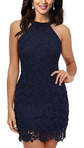 Women's Slim Dresses Sleeveless Lace Halter Party Mini Dress Navy Blue ()