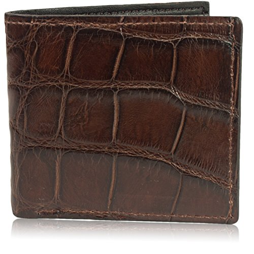 Genuine Florida Alligator Bifold Wallet Handmade (8 Card Slots, Brown)