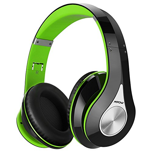 Mpow 059 Bluetooth Headphones Over Ear, Hi-Fi Stereo Wireless Headset, Foldable, Soft Memory-Protein Earmuffs, w/Built-in Mic and Wired Mode for PC/Cell Phones/TV. (Green Bluetooth Headphones)