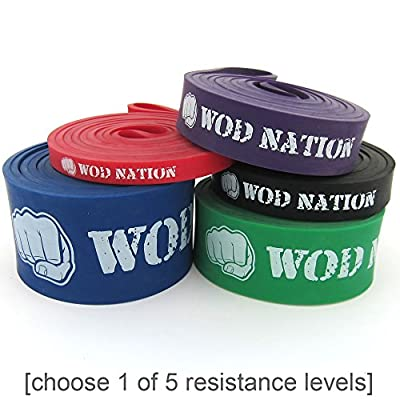 Pull Up Assist Band by WOD Nation for Pullup Assistance, Resistance Exercise, Stretch, Mobility Work & Functional Fitness + Video Workout Training & | SINGLE BAND 41 inch straps