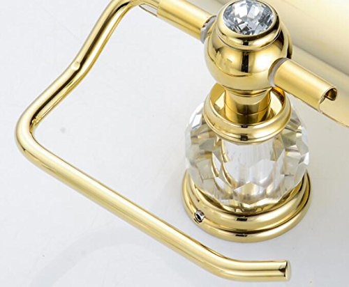 Leyden TM Bathroom Lavatory Luxury Gold Soild Brass Toilet Paper Holder Tissue Roll Holder Tissue Storage Tissue Organizer Wall Mounted, Polished Gold by Leyden (Image #4)