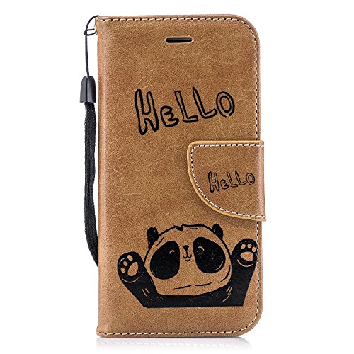 Panda Flip Leather Soft [Slim Fit] with Wallet/Stand/Card Slots/360 Full Body Protection Cover for Apple iPhone 7/8 (Marrón, iPhone 7 -