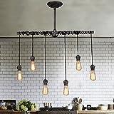 Cheap Jiuzhuo Industrial Brushed Black Metal 6 Hanging Bulb Light Vintage Pendant Ceiling Light