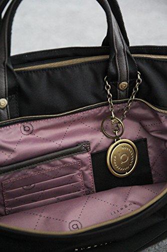 Bugatti Nero Da Raffinata Contratempo Rfid Shopper Colore Nylon Borsa Donna 6w6zrOq