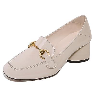 8152e99e34a8 SAUNTERWAY Women s Light Gray Patent Horsebit Loafer Pumps Square Toe Chunky  Heels