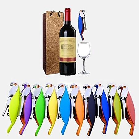 Sacacorchos Abrebotellas De Vino Parrot Sacacorchos De Acero Inoxidable para Latas Frascos Vino Tinto Botellas De Cerveza Bar Herramientas Cocina Restaurante Herramienta Elección: Colores Aleatorios