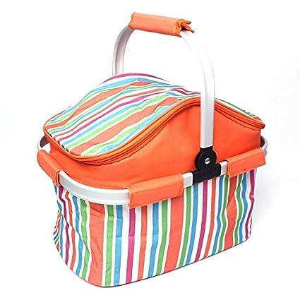 Amazon.com  Morden Orange Stripe Cloth Outdoor Beach Picnic Storage ... 8a592393ba853