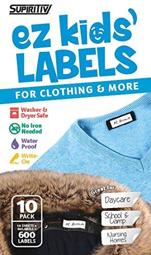Supiritiv All Purpose Ez Kids' Clothing Labels, Stick-On No-Iron, Writable, Washer & Dryer Safe (10) (Best Economy Washer And Dryer)
