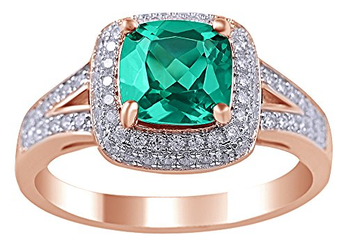 AFFY 2 Ct Simulated Green Emerald & White Sapphire CZ Cocktail Ring in 14K Rose Gold Over Sterling Silver