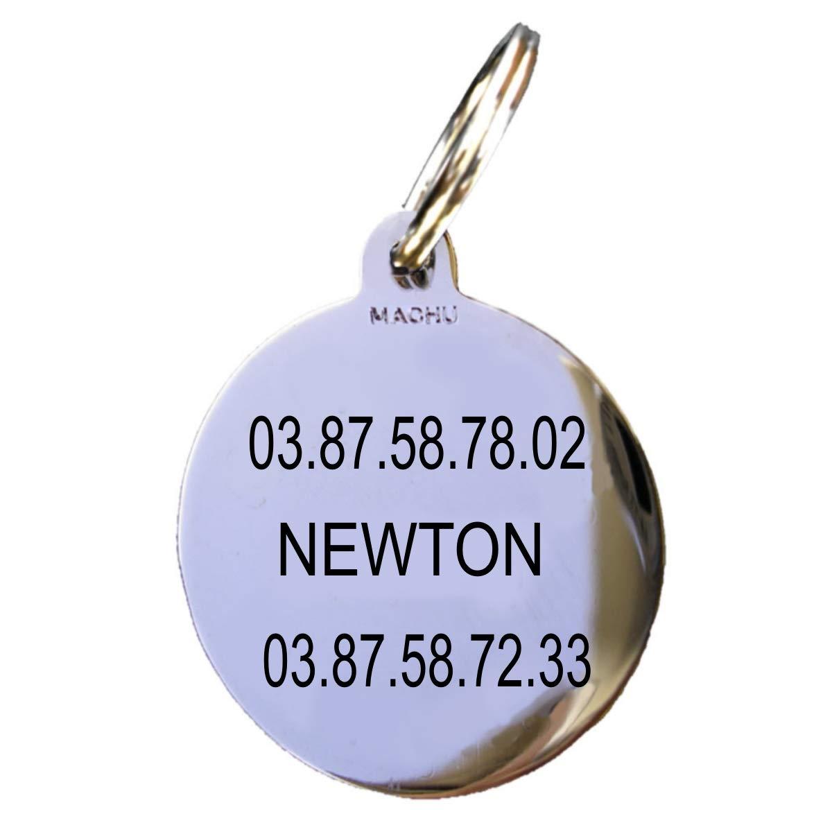MACHU * Médaille Chien chromée 3 cm - Convient à Grand Chien - 3 Lignes de Gravure Profondes soignées Incluse dans Le Prix.