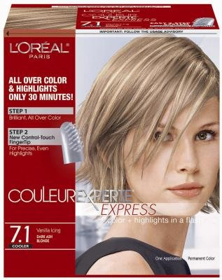 L'Oreal Couleur Experte Express Hair Color & Highlights - #7.1 Dark Ash Blonde/Vanilla Icing (Pack of 3)