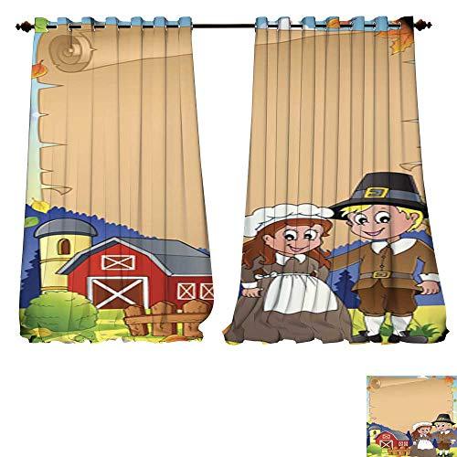 DESPKON-HOME Waterproof Window Curtain Thanksgiving Theme Parchment 4 Shades Window Treatment Valances Curtains -W72 x L84/Pair