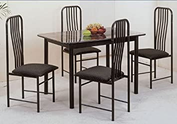 Black Metal Finish 5Pc Faux Marble Dining Set