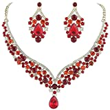 EVER FAITH Austrian Crystal Elegant V-shaped Teardrop Necklace Earrings Set Red Gold-Tone
