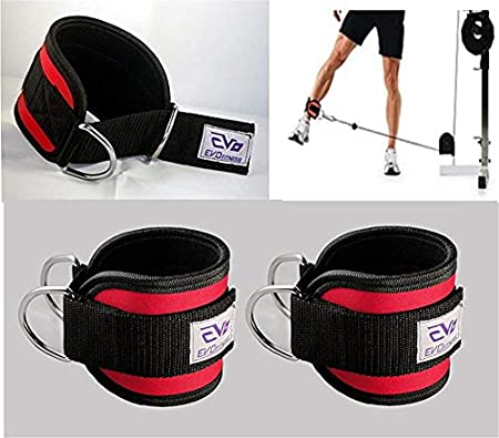 EVO D Ring Ankle Straps Pulley Cable Attachment Neoprene Cuffs Gym Weightlifting
