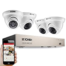 ZOSI 4 channel Full 1080P DVR With 4pcs 1080P Weatherproof Indoor/Outdoor metal Cameras NO Hard Disk white (24pcs IR leds,100ft(30m) IR night vision , Smartphone& PC Easy Remote Access)