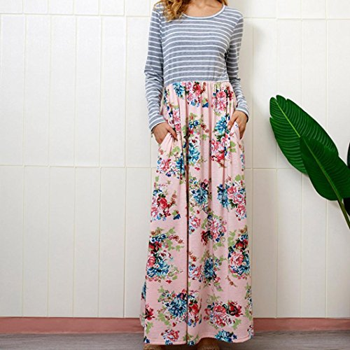 Rambling Women's Casual Striped Long Sleeve Floral Print Bohemian Tank Dresses Party Evening Long Maxi Dresses with Pockets by Rambling (Image #1)
