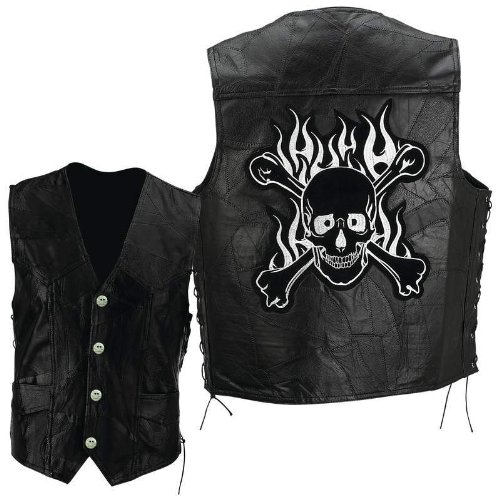 Diamond Plate Leather Vest with Skull Patch Black, Black, L