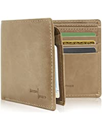 Vegan Leather Wallets For Men - Bifold Mens Wallet RFID Blocking With ID Window