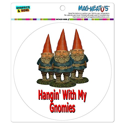 Graphics and More Hangin with My Gnomies Hanging Gnomes Automotive Car Refrigerator Locker Vinyl Magnet