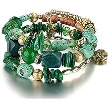 Multilayer Bohemian Beaded Bracelet Crystal Pendant Charm Stretch Beach Bangle Bracelet Set Jewelry