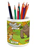 Ambesonne Educational Pencil Pen Holder, Jungle Animals Colorful Funny Hand Drawn Style Zoo Nature Tropical Wildlife, Printed Ceramic Pencil Pen Holder for Desk Office Accessory, Multicolor