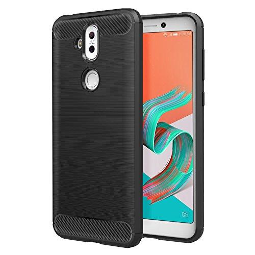 MoKo ASUS ZenFone 5 Lite ZC600KL 6.0 Case, Flexible TPU Bumper Slim Fit Case Carbon Fiber Design Lightweight Shockproof Back Cover for ASUS ZenFone 5 Lite and ZenFone 5Q, Black