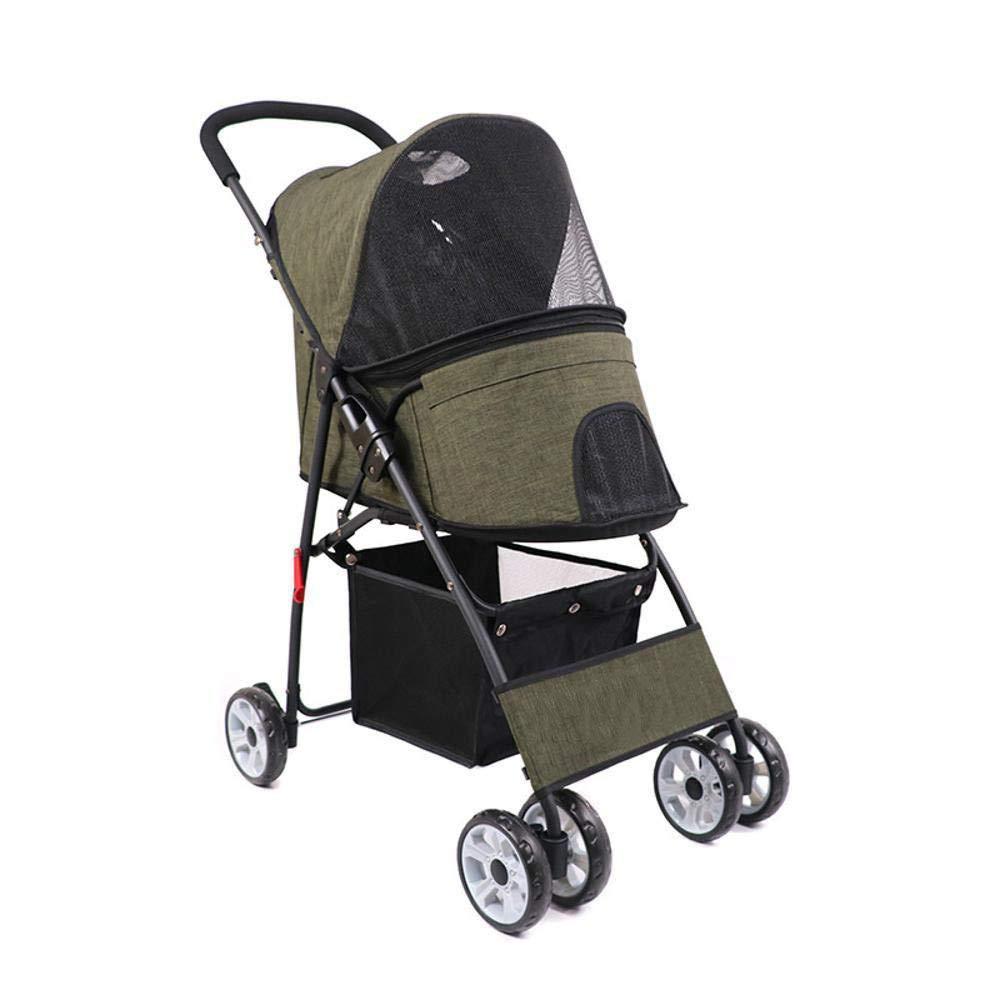 B Dixinla Pet StrollerTrolley Folding Breathable Portable Dog car cat car Four-Wheel pet Out Supplies