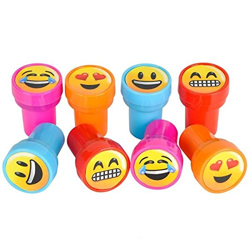 (36 Pack Emoji Stamp Emoticon Stampers - Prizes, Stocking Stuffers, Classrooms, Treasure Box, Party Favors, Party Supplies)