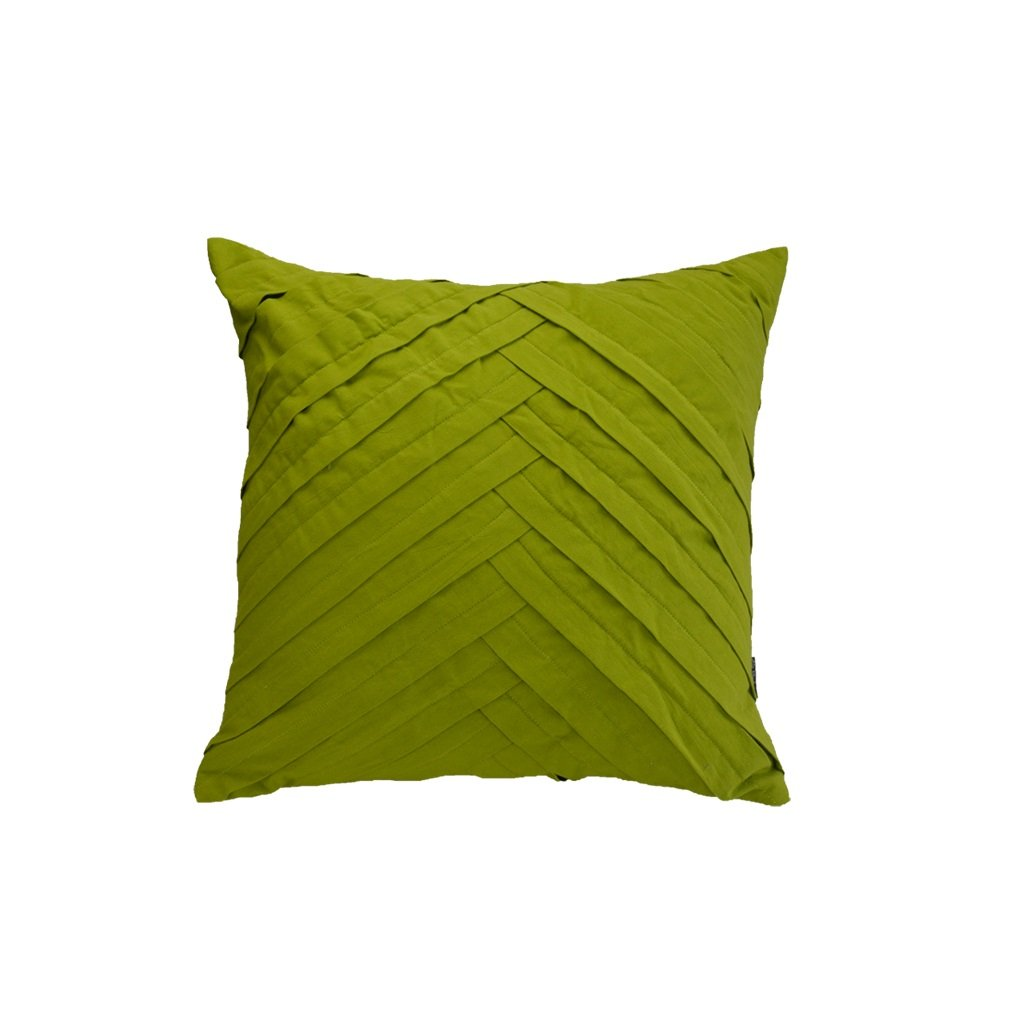 WAN SAN QIAN- Back Cushion Country Style Green Fold Pleats Pillow Jane Europe Modern Pillow Cushion Fresh Green Solid Color Cushions 4545cm Back Cushion by Back Cushion