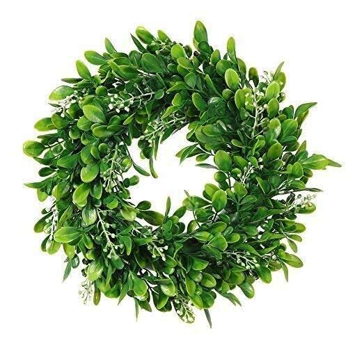 Boxwood Wreath Round Wreath,Artificial Green Leaf Wreath Door Wreath Green Wreath for Home Door Hanging Wall Window Wedding Christmas Party Decoration,11 Inches]()