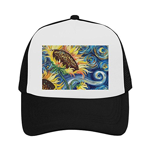 Vincent Van Gogh Painting Sunflower Classic Vintage Mesh Trucker Cap Baseball Hat Black ()