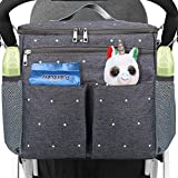 Conleke Luxury Stroller Organizer,Baby Stroller Accessories, Universal Parents Diaper Stroller Bag,Travel Bag W/ Removable Shoulder Strap for Carrying Bottles,Diapers,Cup Holder&Storage Pockets,Fits Most Baby Strollers (F-Grey)