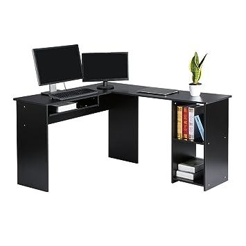 langria meuble bureau informatique en forme de l pour ordinateur avec support clavier coulissant sous table