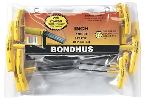 Bondhus 13338 Set of 10 Hex T-handles, sizes 3/32-3/8-Inch