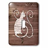 3dRose lsp_261817_1 Distressed White Painted Cat on Brown Weatherboard-Not Real Wood Toggle Switch, Mixed