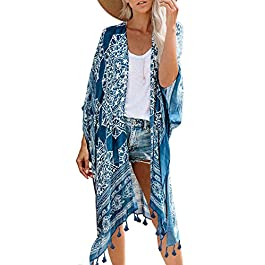Dokotoo Womens Fashion Floral Print Swimsuit Kimono Tassel Casual Cardigan Loose Beach Cover ups