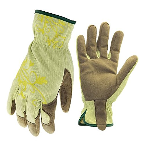 (Holly Women's Synthetic Leather Garden Glove, Green, Large)