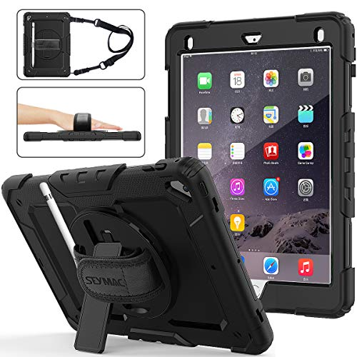 (SEYMAC stock iPad 6th/5th Generation Case, Three Layer Hybrid Drop Protection Case with [360 Rotating Stand] Hand Strap &[Stylus Pencil Holder] for iPad 5th/6th 2018/2017, Air 2 and Pro 9.7 (Black))